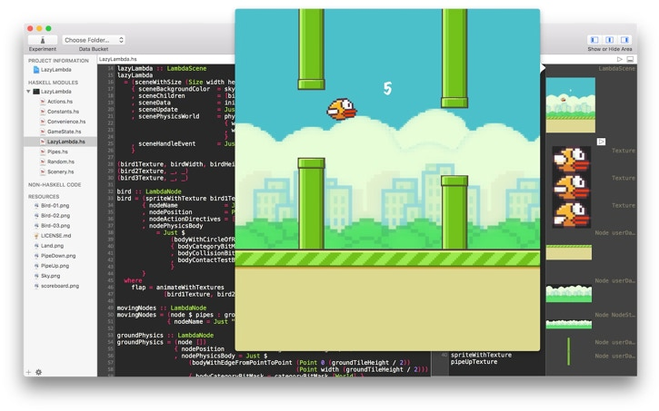 Lazy Lambda (Flappy Bird clone) in Haskell for Mac